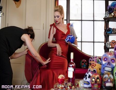 vestidos con cola en color rojo