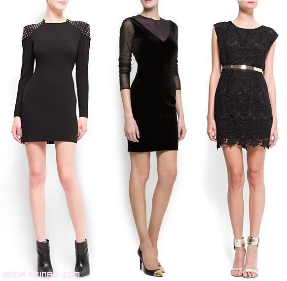 Como combinar un vestido negro corto de noche