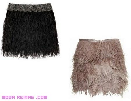 Faldas con plumas, para un look sexy