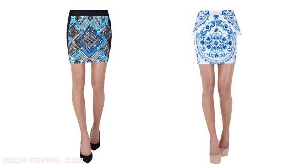 Mini-faldas de estampado étnico