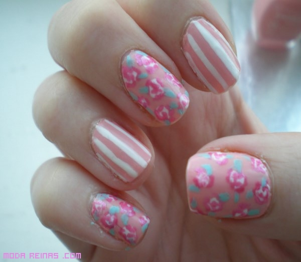 uñas en rosa palo
