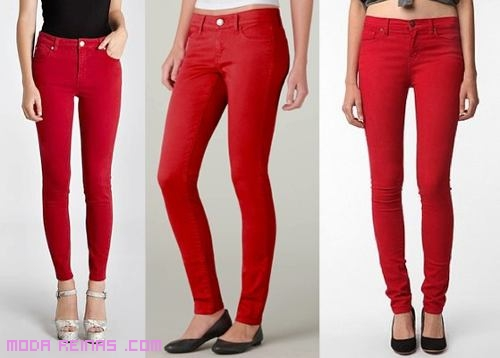 Jeans rojos de moda