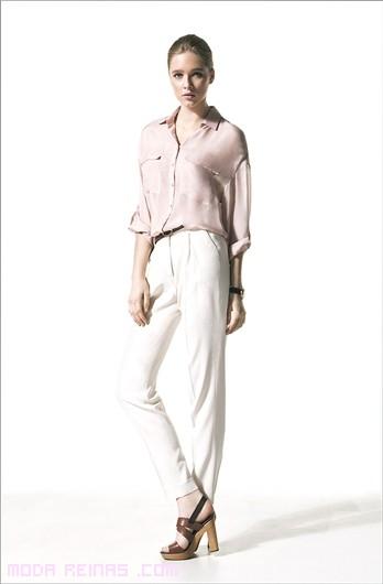 looks de día con pantalones blancos