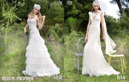 Novia bohemia con los vestidos de Cris Yolan