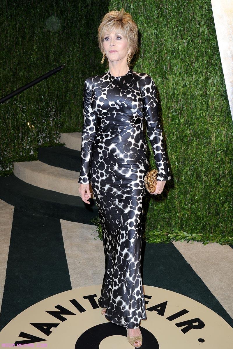 Jane Fonda vestido estampado
