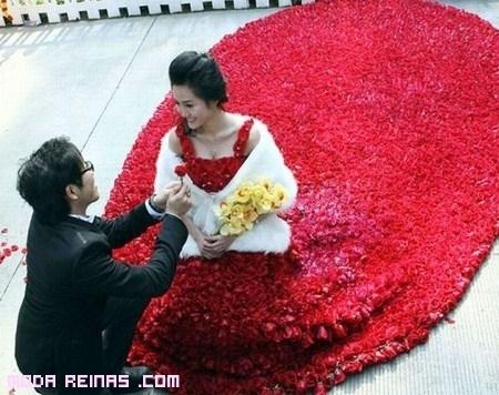 Rosas rojas para un vestido lleno de pasión