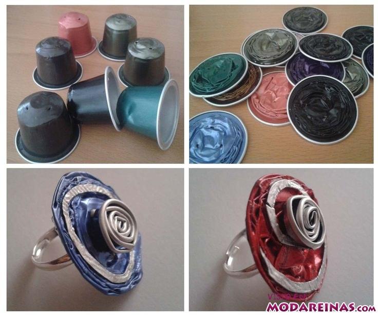 anillos hechos con cápsulas de café