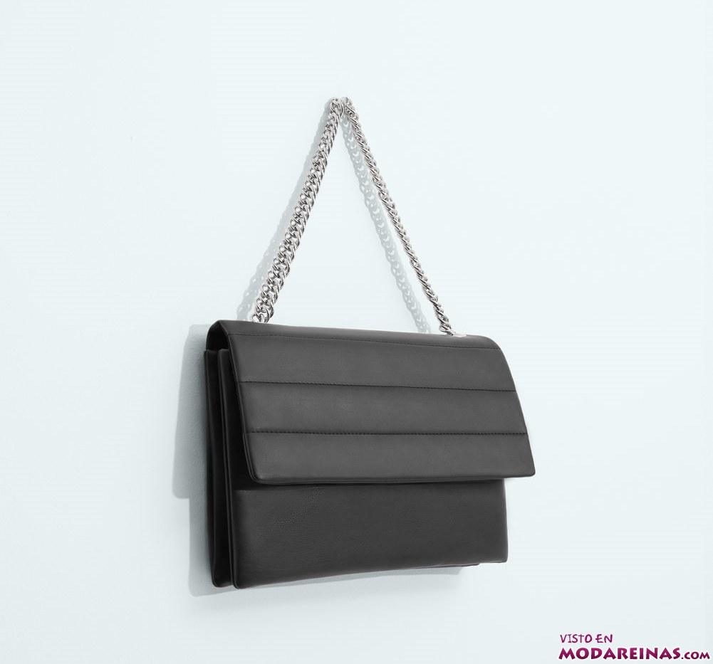 bolso negro cadenas mango