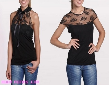 Camisetas de encaje en negro