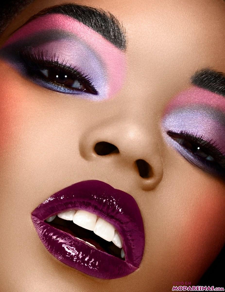maquillaje en rosa y azul