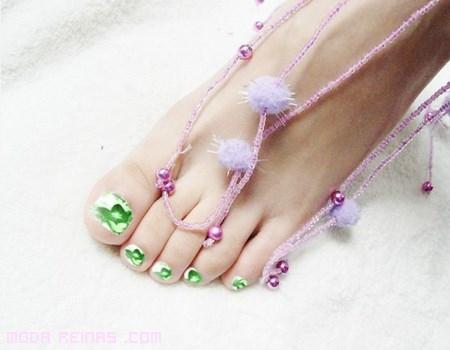 pedicura en color verde