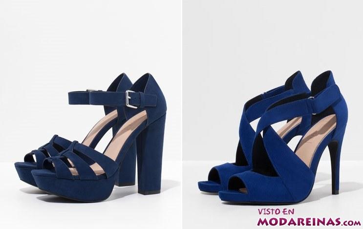 sandalias en color azul de bershka