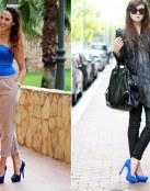 Cómo combinar zapatos en color azul