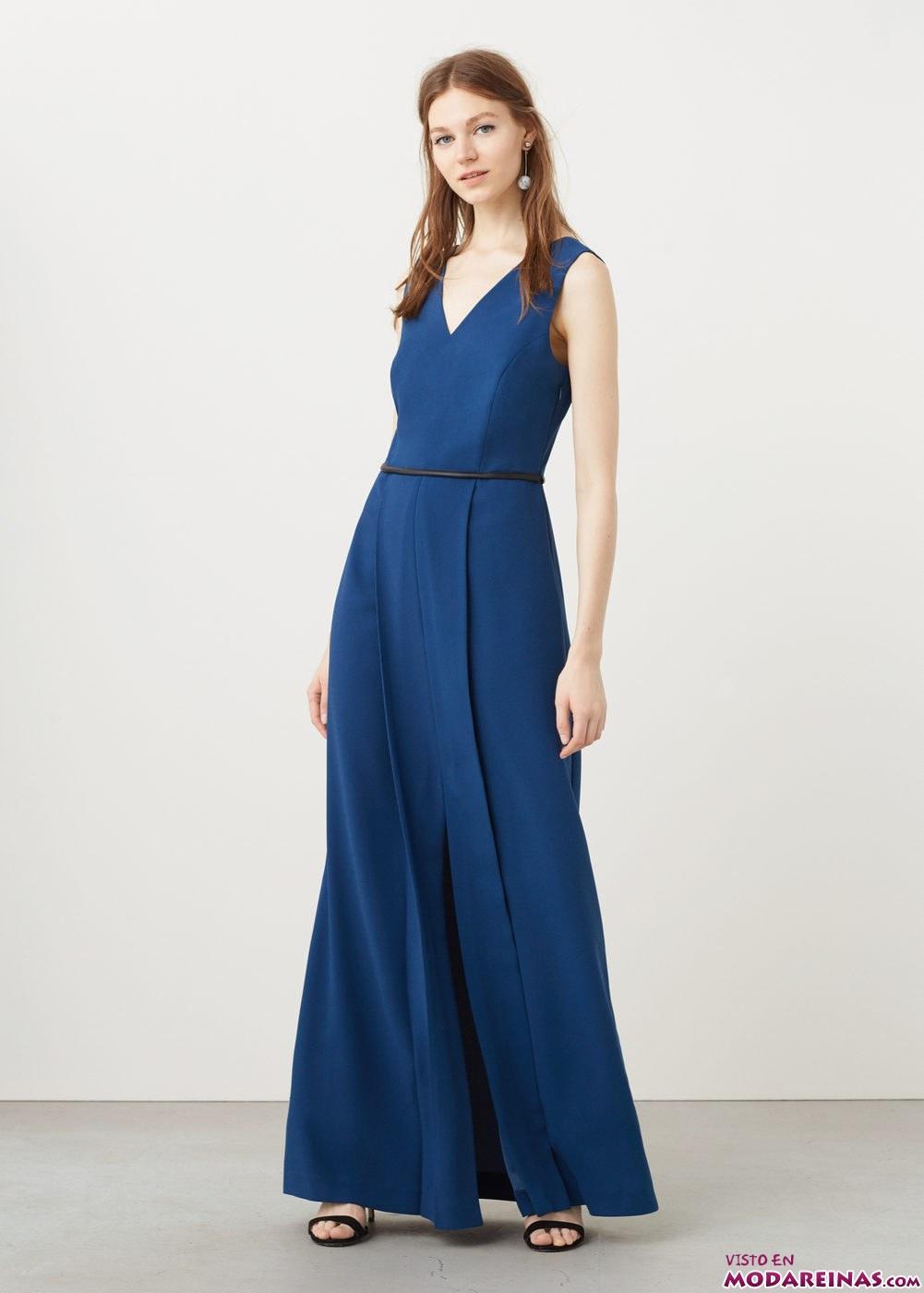 vestido azul real mango