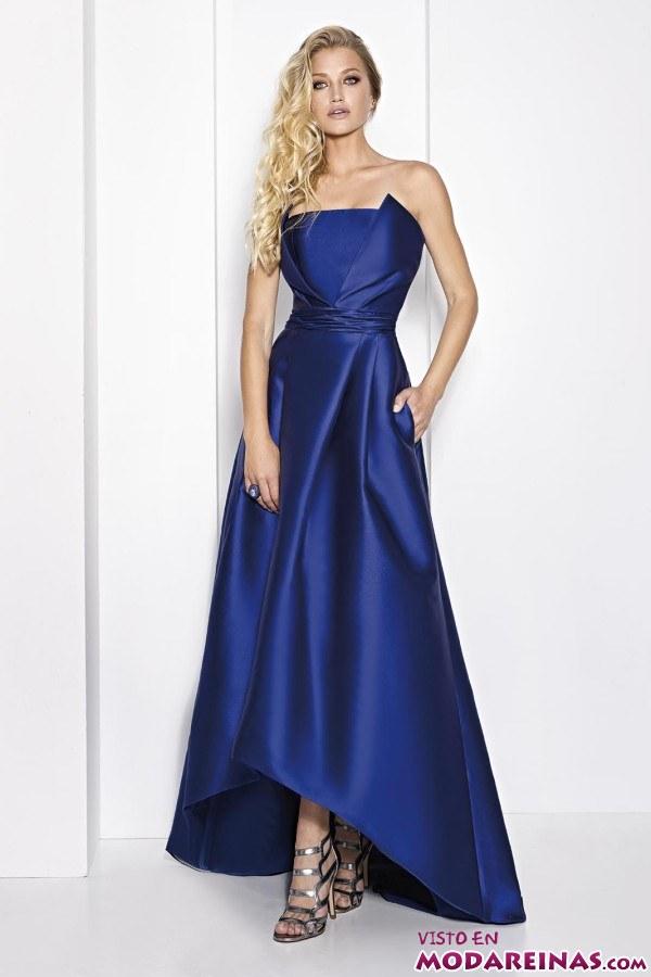 vestido con falda asimétrica azul real