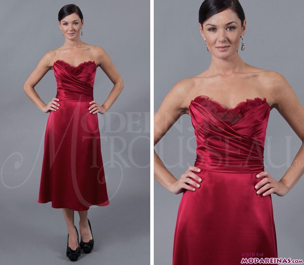 vestido corto de raso rojo