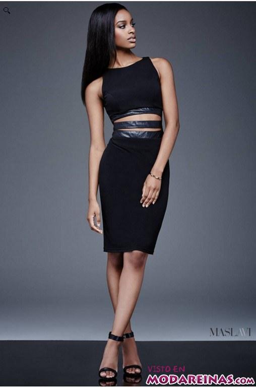 vestido crop-top en negro