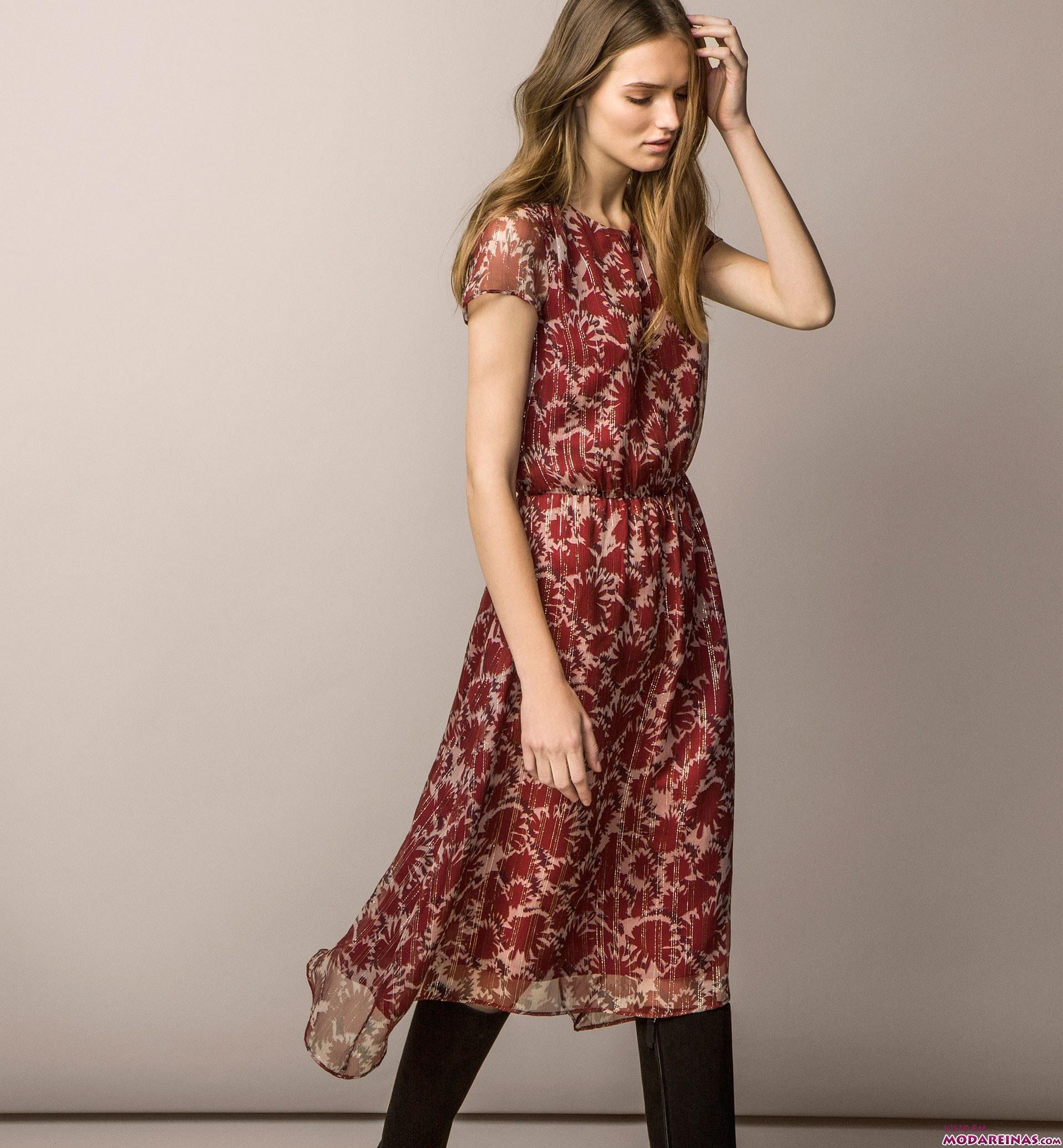 vestido estampado corto de massimo dutti