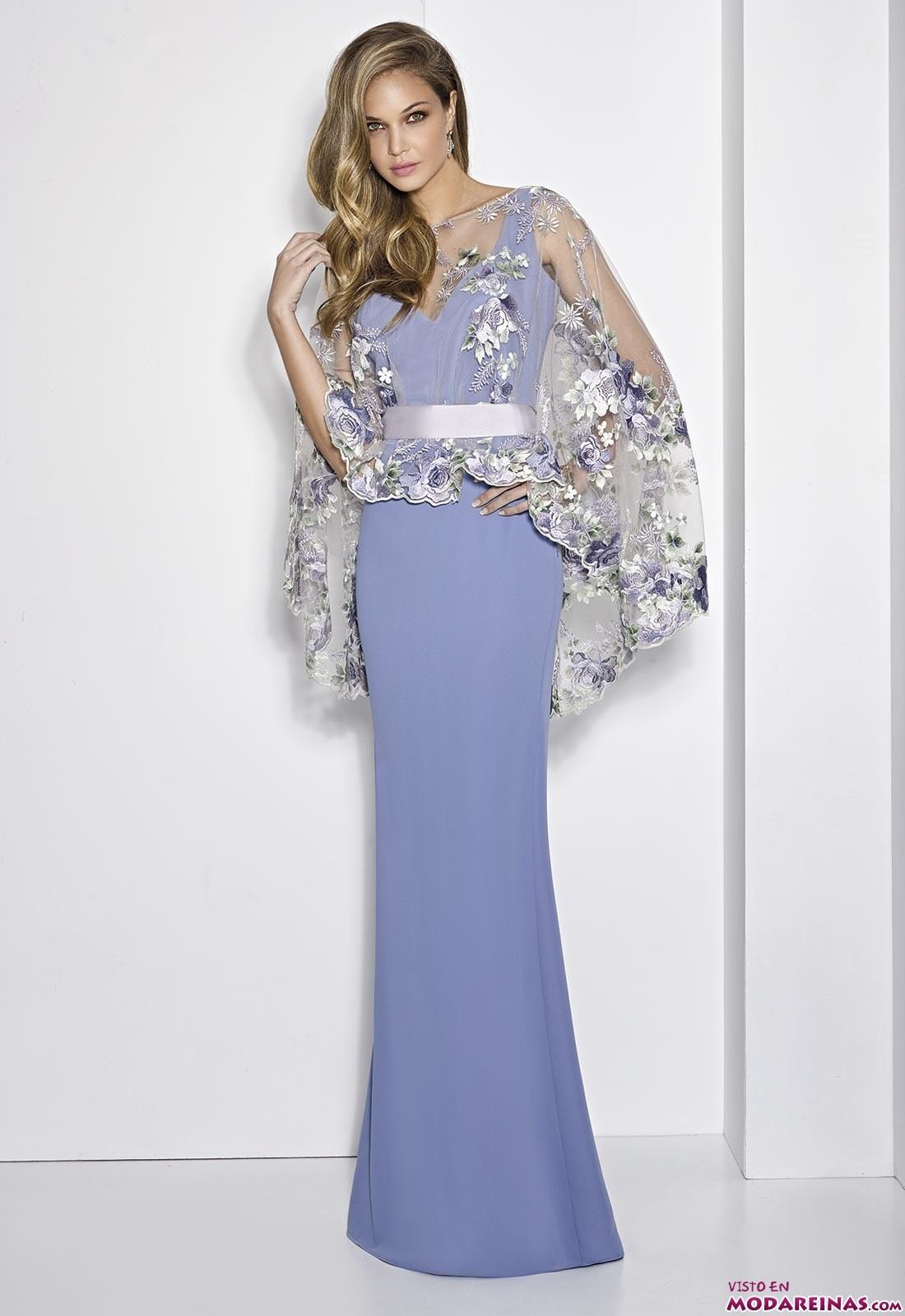 vestido fiesta azul claro capa