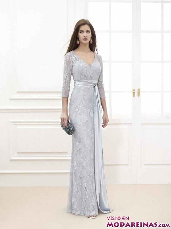 vestido largo azul de fiesta fara sposa