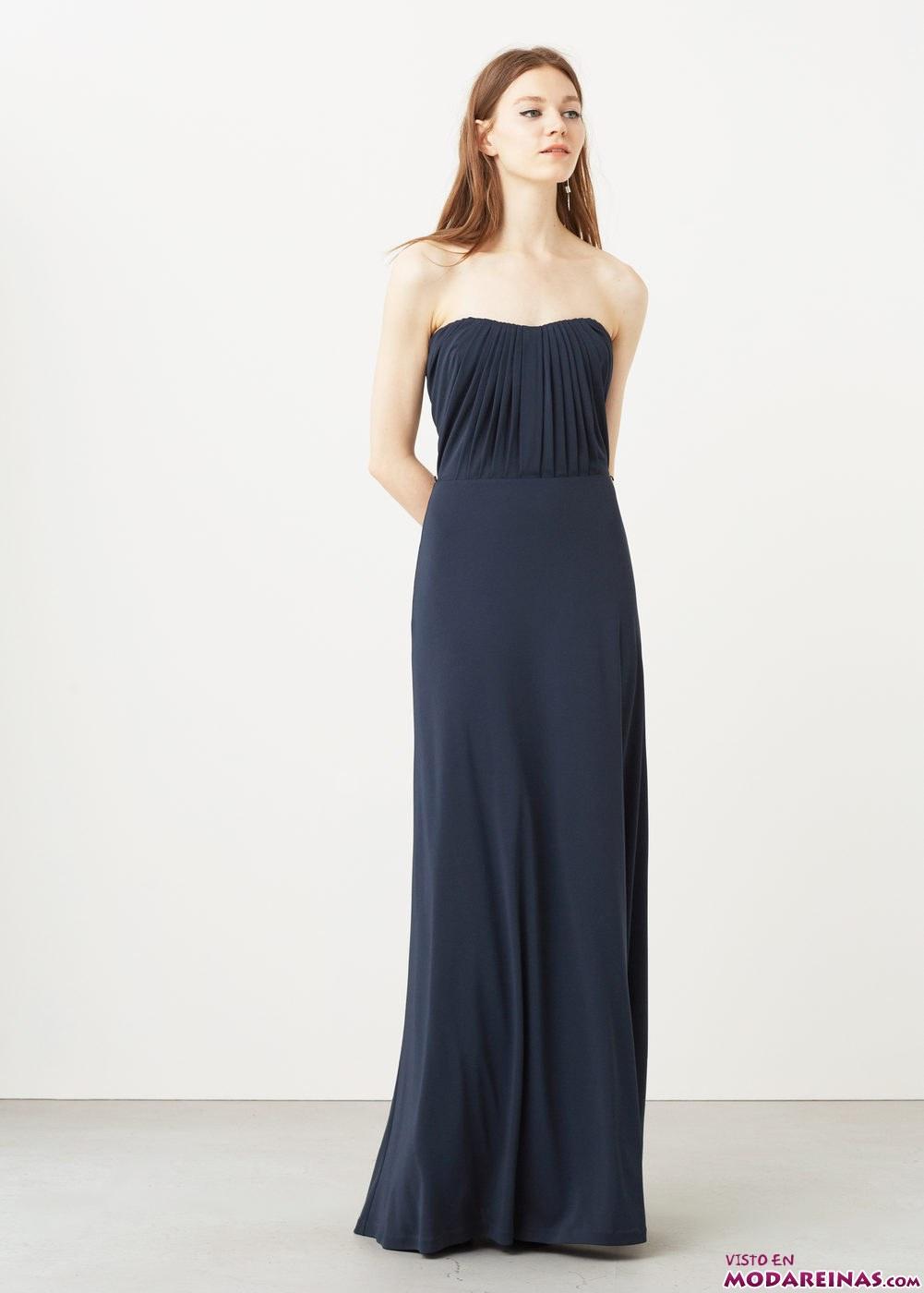 vestido largo azul marino mango