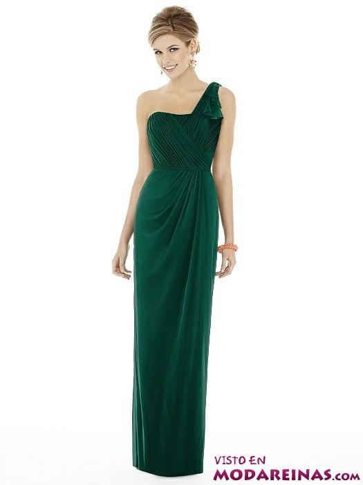 vestido largo en verde para fiesta
