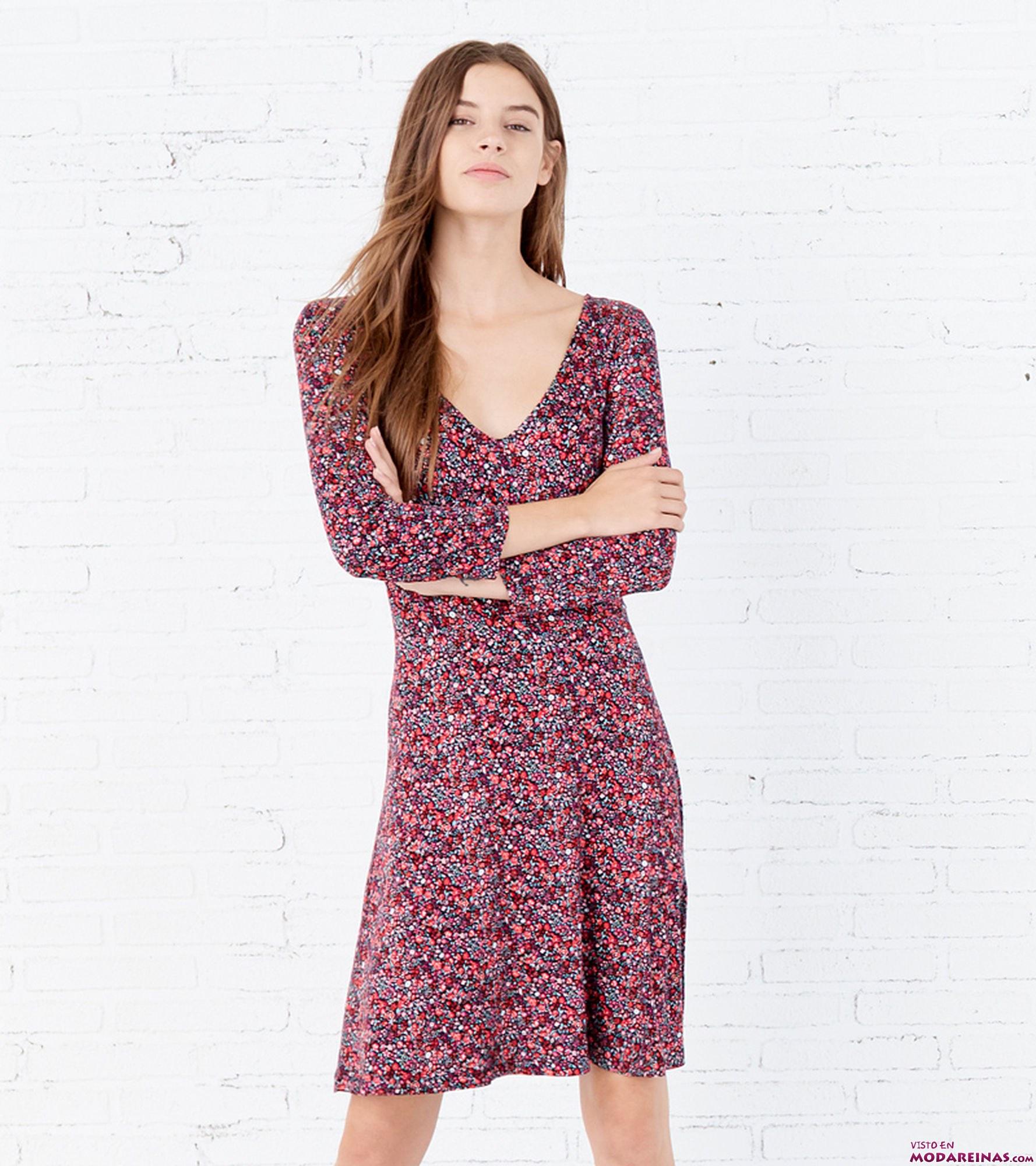 vestido manga larga con escote pico springfield