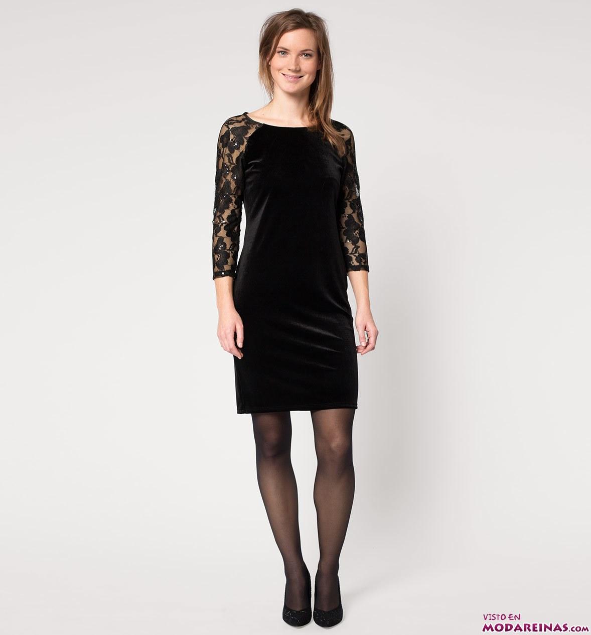 vestido negro con encajes para navidad
