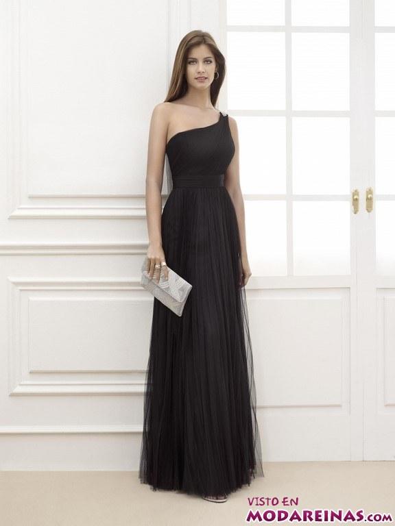 vestido negro fiesta con escote