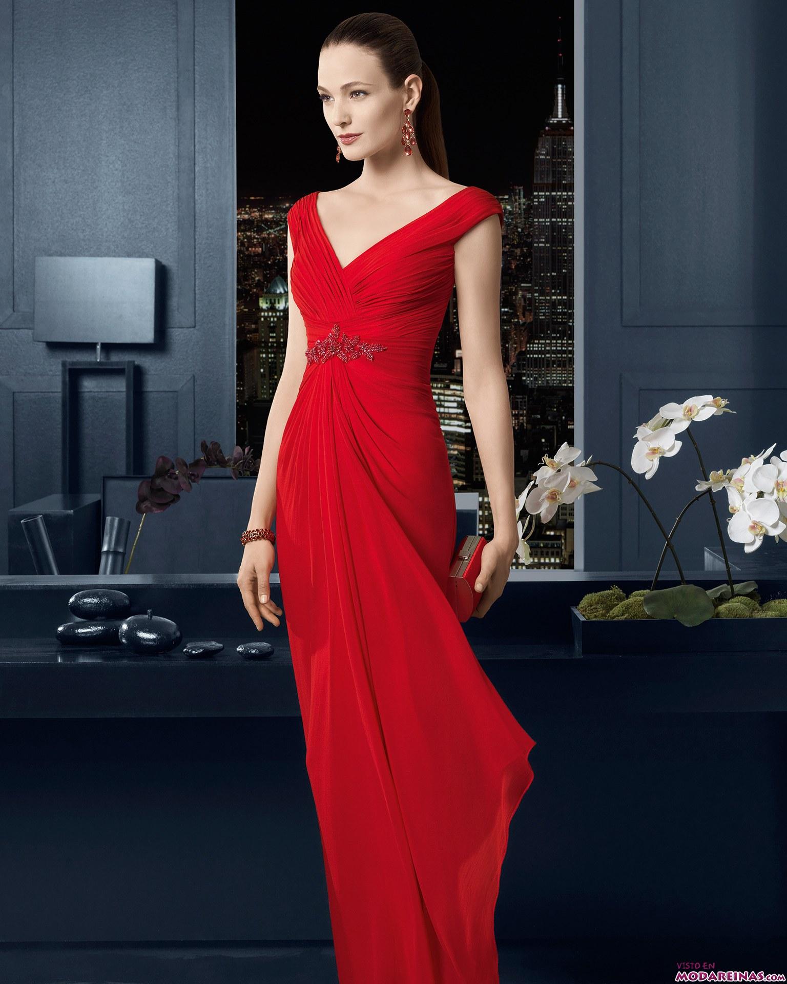 vestido rojo rosa clará