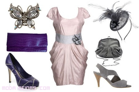Vestidos de fiesta rosa y gris