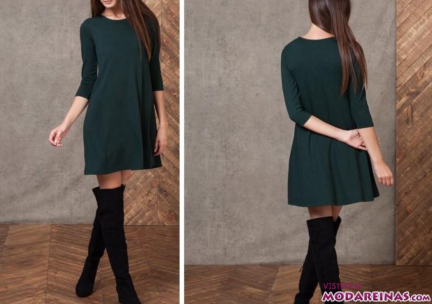vestido verde con botas altas