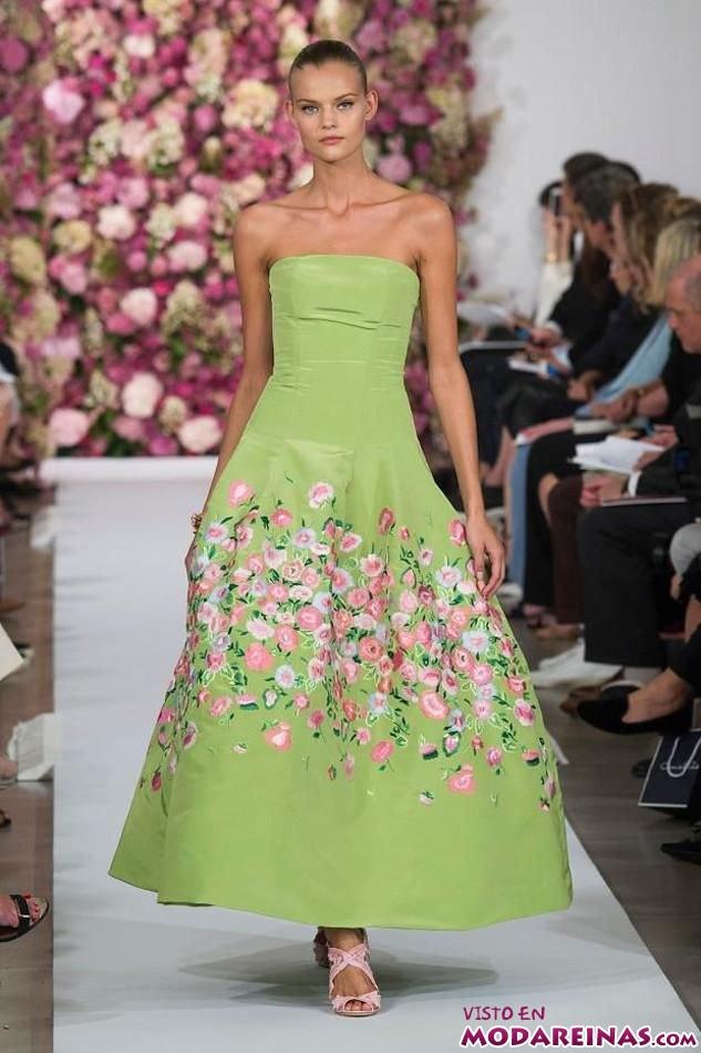 vestido verde oscar de la renta
