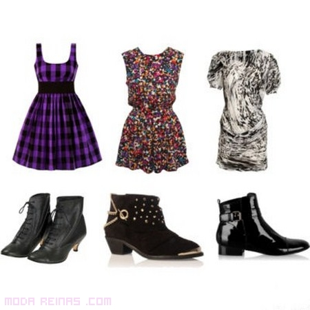 botines negros con vestidos cortos