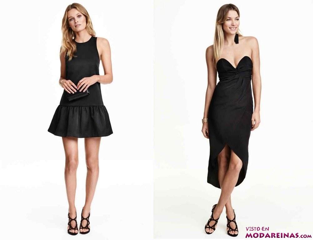 vestidos cortos en color negro de H&M