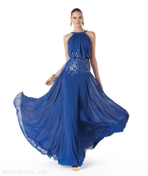 Vestidos azules con vuelo