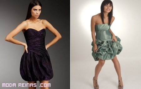 vestidos sin tirantes globo