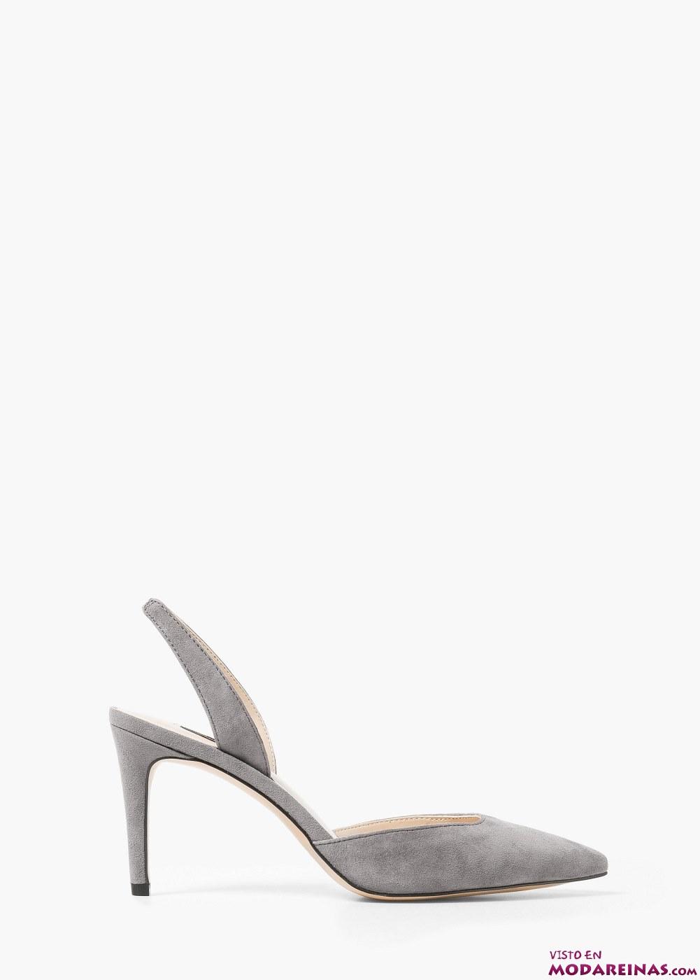 zapatos abiertos plateados de mango